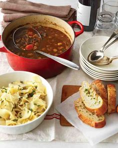 Combine the glamour and gorgeousness of a long-simmering beef-and-red-wine stew and the old-school practicality of a from-scratch soup made largely with pantry and fridge basics, and serve it with herbed egg noodles and horseradish-chive bread for the ultimate in sophisticated comfort food.