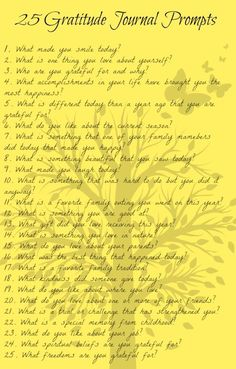 25 prompts for writing in a gratitude journal