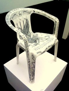 Michael Dinges - Captain's Chair - engraved plastic chair and acrylic