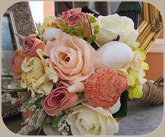Beach Wedding Bouquet with Sea Shells, Beach Roses, Nautical Wedding, Beach Wedding Beach Wedding Bouquets, Bridesmaid Bouquet, Wedding Beach, Wedding Flowers, Dream Wedding, Beach Flowers, Seashell Wedding, Nautical Wedding, Shell Bouquet