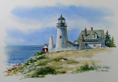 Watercolor Painting of Pemaquid Point Lighthouse by Richard Moore