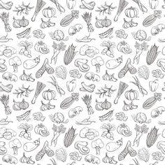 Contour de légumes dessinés à la main motif à fines rayures (style de ligne)…