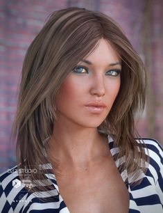 Flirty Hair For Genesis 3 Female S Is A Long Mid Length Daz Studio Or Poser Created By Originals And