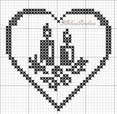 Discover thousands of images about Gradireste qualche cuoricino a punto croce, free? Cross Stitch Christmas Ornaments, Xmas Cross Stitch, Cross Stitch Heart, Christmas Cross, Cross Stitching, Cross Stitch Embroidery, Cross Stitch Patterns, Filet Crochet, Crochet Motif