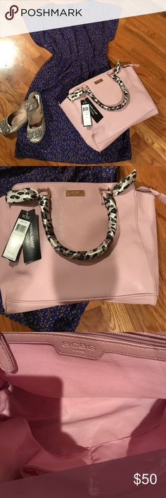 BNWT BCBG Tote Bag. Offers Considered. Large Tote Bag/Purse by BCBG. Lavender. 16 in wide. 10 inches in height. Expands out to 8 inches. Can easily fit a book, tablet, or whatever. Scarf on handles are easily taken off. BCBG Bags Totes