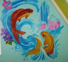 Muurschildering voor onze zoon  met frisse kleuren en karpers