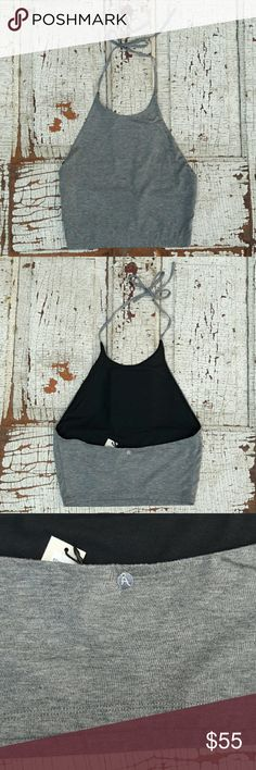"NWT Alice + Olivia gray crop top 4 Alice + Olivia by Stacey Bendet gray crop top size 4 with black mesh lining. Very soft!   Bust-13.5"" Waist- 12"" Length- adjustable, and 17"" Alice + Olivia Tops Crop Tops"
