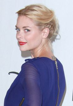 Jaime King in a great updo for short hair -- french braid across the bottom and pin the hair on top