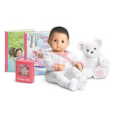 American Girl® : Doll, Book & Plush Polar Bear Collection: Light skin, dark brown hair, brown eyes