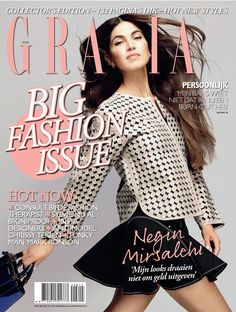 Negin Mirsalehi on the cover of Grazia Netherlands with an #EmporioArmani jacket and bag