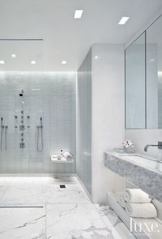 White and gray. Natural stone and tile. Beuaitful, simple, elegant environment.