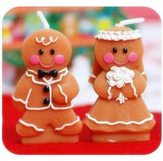 Unique Design Christmas Adorable Gingerbread Bride & Groom Candle Favours