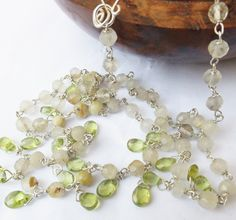 Peridot fringe necklace, rutile gold quartz necklace,rutile quartz, gold and green beaded necklace, sterling silver, peridot briolette by graciedot on Etsy