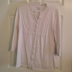 Kim Rogers top 1 blue, 1 white. T shirt knit. 12. 00 Each, 20.00 for both. Very comfortable. Gently worn. Kim Rogers Tops Blouses