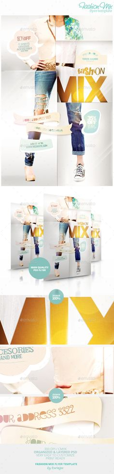 Fashion Mix Flyer Template / $6. !***This flyer is perfect for the promotion of Shops/Boutiques, Sales/Promotions, Fashion Shows, New Collections, Events or Whatever you Want!.!***