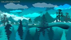 Awh, it's so cool? Forest Landscape, Natural Scenery, Landscape Illustration, Art Studios, Graphic Design Art, Vector Free, Drawings, Nature, Dark Blue