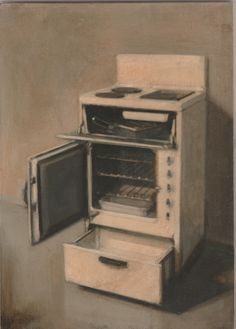 Untitled (Electric Cooker) oil on panel, signed lower right. 2015
