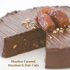 Flourless Lindt Crunchy Caramel, Date and Hazelnut Cake     This recipe combines the moistness of a flourless chocolate cake with the richness of dates and the delicious crunchy texture of hazelnuts. It's a good idea to make this cake the day before and top with ganache on the day.     View the full recipe online:http://www.lindt.com/au/swf/eng/lindt-lovers/recipes/just-starting/flourless-lindt-crunchy-caramel-date-and-hazelnut-cake/