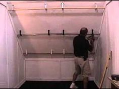 Slanted ceiling closet hang bars
