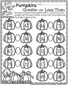 First Grade October Worksheets - Greater than Less Than Pumpkins.
