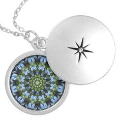 Forget Me Not 01 01.2 Forgetmenot Nature Mandala Locket Necklace - diy cyo customize create your own personalize