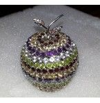 139.66 Grams 925 Sterling Silver Apple studded with natural semi precious Gemstones