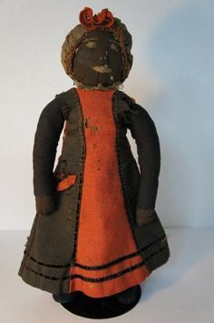 "16"" antique black cloth doll with embroidered face rag stuffed."