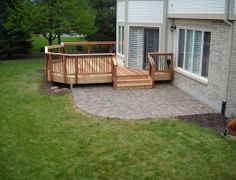 Deck and patio combo! Deck and patio combo! Patio Deck Designs, Patio Design, Diy Deck, Deck To Patio Ideas, Patio Sets, Backyard Ideas, House With Porch, Building A Deck, Concrete Patio