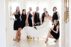 Bride and her maids in a bathtub. A fun, whimsical portrait of the bridal party  Sarah Maren Photography #bridalparty