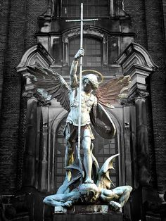 Archangel Michael conquering the Devil, St. Michael's Church, Hamburg, Germany by Rolf Diekhoff