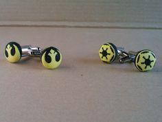 Star Wars yellow Jedi or Empire symbol by AbandonedWarehouse, $22.00 Star Trek, Cufflinks, Symbols, Stars, Yellow, Accessories, Icons, Gold