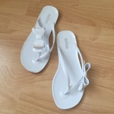 250933710471 Melissa jelly flip flops White Melissa shoes flip flops with oversized bows.  A few markings on the sandal.