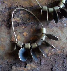 Brass & Mustard Jasper Jeweled Hoop Earrings. $45.00, via Etsy.   Love the shape of these hoops