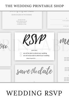 Handwritten Script Wedding RSVP Printable | wedding stationery | Digital download | diy wedding | print at home | diy bride | etsy Stationery Design, Wedding Stationery, Wedding Rsvp, Diy Wedding, Wedding Printable, Wedding Prints, Script, Names, Printables