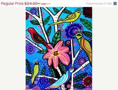 50% Off - Bird Art - Folk Art Birds Art Art (HG179)