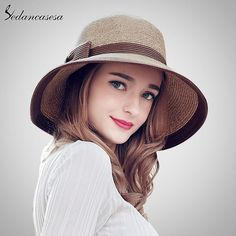 b0b28a3a389 Sedancasesa Summer Handmade bow Straw hat womens Garland sunbonnet bucket  hat roll-up hem beach cap sun hat for women