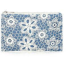 Forever 21 Floral Crochet Cosmetic Pouch ($5.90) ❤ liked on Polyvore featuring beauty products, beauty accessories, bags & cases, travel gear e forever 21