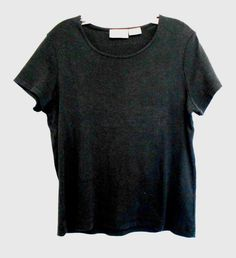 Basic Editions Black Top Size Medium Scoop Neck Short Sleeves Cotton #BasicEditions #KnitTop #Career
