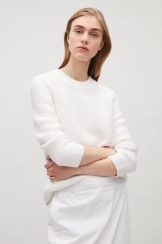 COS image 11 of Textured knit jumper in White