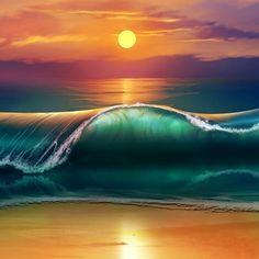 2048x2048 Papel de parede de arte, por do sol, praia, mar, ondas