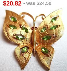 JJ Butterfly Brooch Pin Green Rhinestones by BrightgemsTreasures