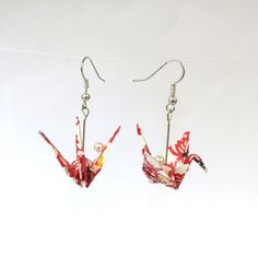 Origami Artist, Japanese Culture, Crane, Great Gifts, Pearls, Earrings, Handmade, Etsy, Design