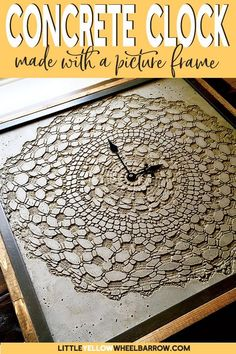 An IKEA hack to make a DIY Concrete clock. Come check out how we pulled this clock together using an IKEA picture frame, concrete clay, and a vintage doily. #concretecrafts #cement #DIYclocks #ikeahacks #weekendprojects