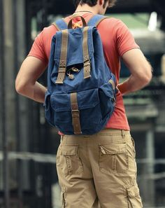 Dark- blue  Canvas Backpack/ Canvas backpack/Handmade bag