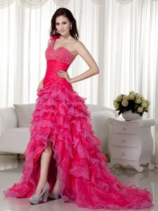 One Shoulder Brush Train Beaded Prom Dress in Hot Pink