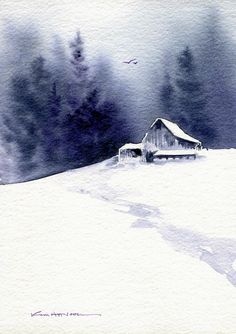 Barn in Snow, watercolor by Kim Attwooll
