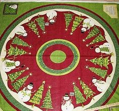 "1 Debbie Mumm ""Tophat Snowman"" Tree Skirt/Tablecloth fabric Panel"