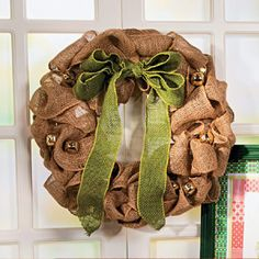 Burlap Wreath. Would look cute with lights.