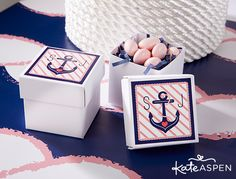 nautical favor boxes nautical bridal shower party ideas pink and navy bridal shower