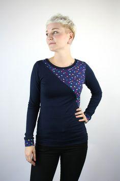 Schluppenblusen - Longsleeve dunkelblau - ein Designerstück von JAQUEEN-handmade-streetwear-berlin bei DaWanda